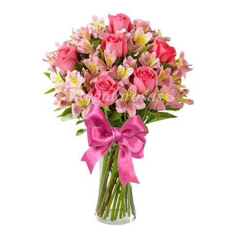 floreros santiago florero rosas rosadas y alstroemerias rosadas flores a
