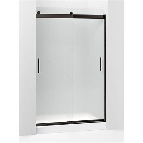 Kohler Frameless Sliding Shower Door Kohler Levity 47 625 In W X 74 In H Frameless Sliding Shower Door In Anodized Bronze K