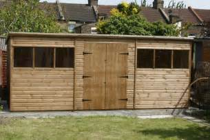 bespoke 18 x 8 pent garden shed with doors by sheds