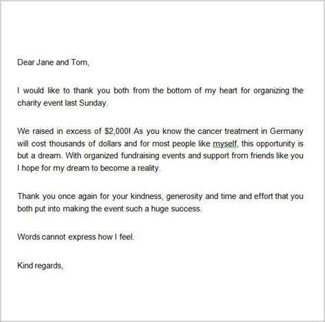 thank you letter template for donation sle thank you letters for donation 8 documents in
