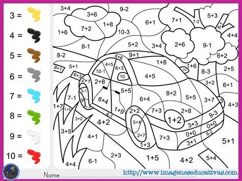 imagenes de matematicas en ingles fichas de matematicas para sumar y colorear dibujo 6