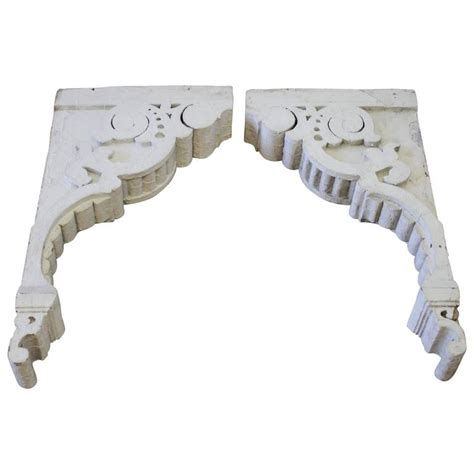 White Corbels Large Antique Wood Architectural Corbels With Original
