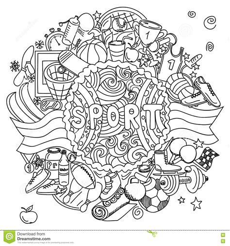 doodle sport the composition of the sports doodle elements stock vector
