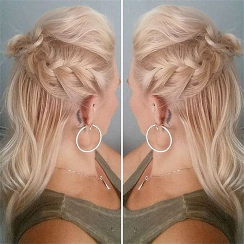 partial updo with braids hair style fashion