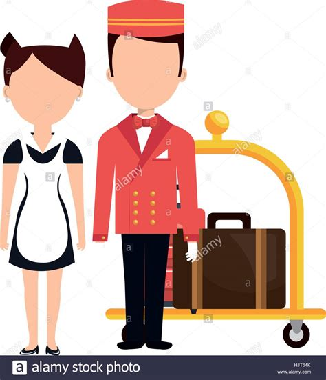 hotel clipart room service and bellboy character hotel vector