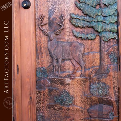 Hand Carved Door Deer In The Forest Wildlife Scene