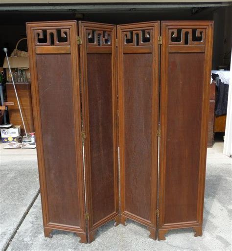 beautiful vintage 4 panel solid wood room divider