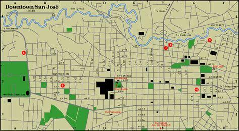 san jose downtown map costa rica map of downtown san jose costa rica