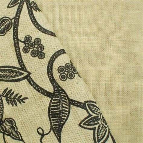patterned hessian fabric printed floral swirl and plain woven natural burlap jute