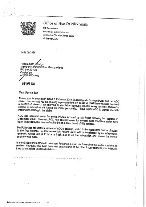 Resignation Letter Exle New Zealand Nick Smith Resignation The Second Acc Letter Scoop News
