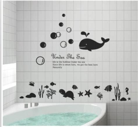 bathroom vinyl wall decals scenery under the sea tortoise whale starfish bathroom