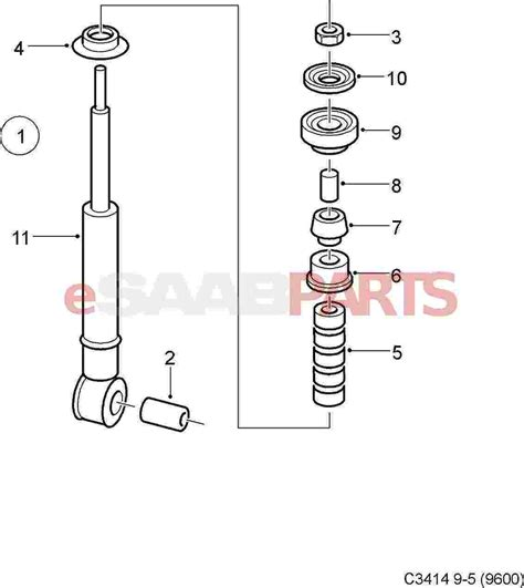 shock absorber diagram 12765951 saab rear shock absorber 9 5 aero 4d
