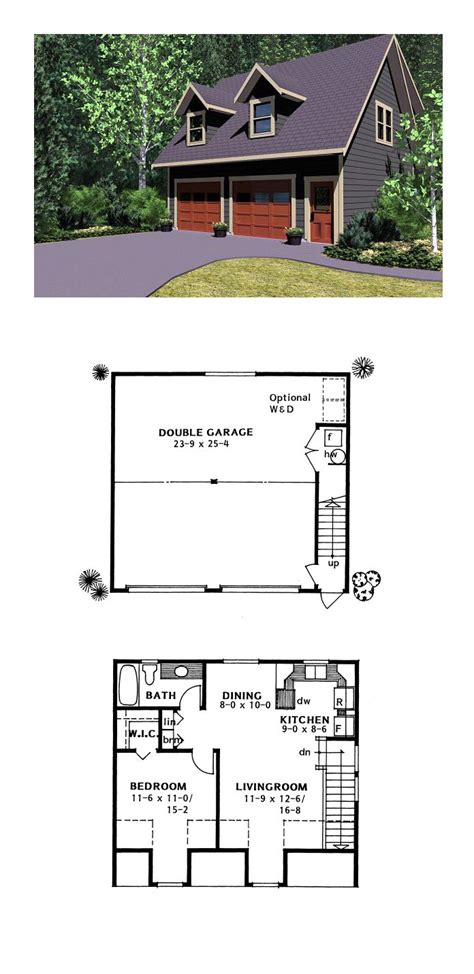 live in garage plans garage apartment plan 96220 total living area 654 sq