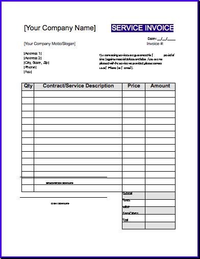 contractor invoices templates invoice template free or excel word