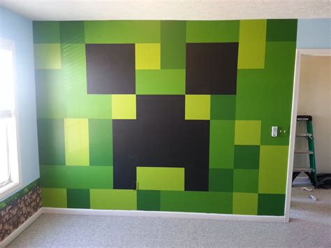minecraft bedroom painted creeper wall gyerekszoba