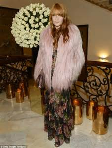 Italian Embassy Florence Welch Leads The Glamour In Pink Feathered Coat