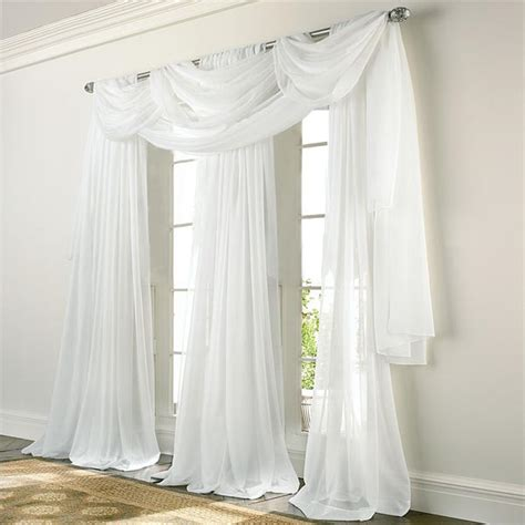 White Panel Curtains Elegance Voile White Sheer Panels Altmeyer S Bedbathhome