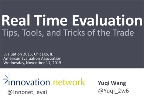 Trick Of The Trade by Real Time Evaluation Tips Tools And Tricks Of The Trade