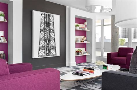 purple and grey living room how to decorate with purple in dynamic ways