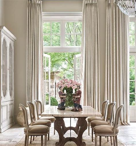 french country dining room  beautiful linen curtains