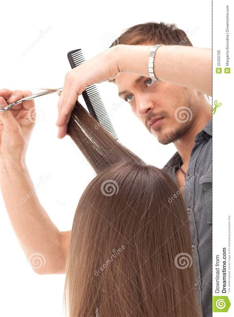 Professional Hair Dresser by Professional Hairdresser With Hair Model Stock Photo