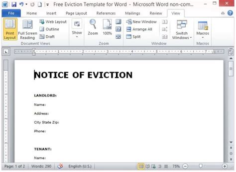 Free Eviction Template For Word Eviction Notice Template Word