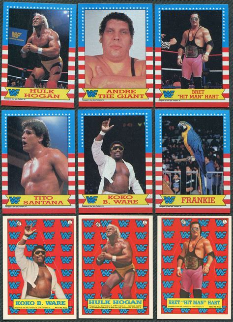 wwf cards 1987 topps wwf complete set of 75 22 stickers