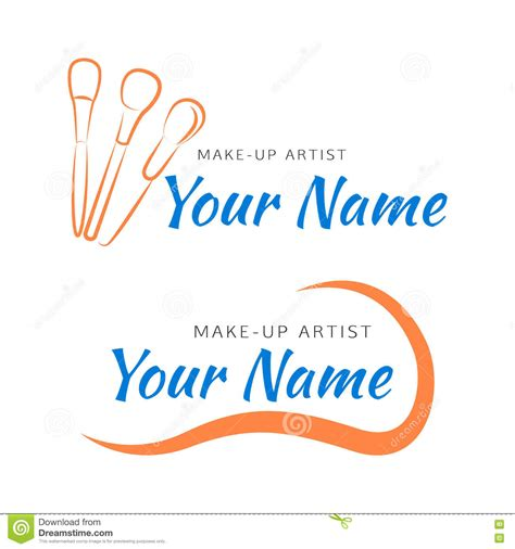 Line Make Up Brush makeup logo with brush and curved line stock vector