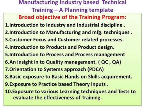 Manufacturing Industry Based Technical Training A Planning Templat Manufacturing Program Template