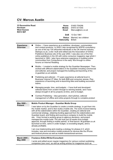 exle of cv resume for cv in word format