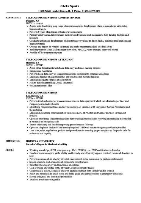 Telecommunication Consultant Sle Resume by Telecommunication Consultant Sle Resume Cover Letter Exles For Entry Level