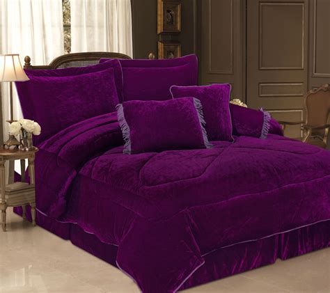 purple queen bed set 5pcs twin purple velvet bedding comforter set ebay