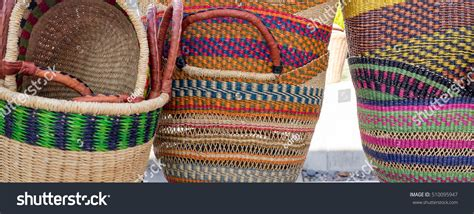 colorful woven baskets colorful woven shopping baskets stock photo
