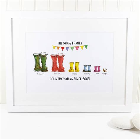 Christmas Tree Drawing by Personalised Welly Boot Family Print By This Is Nessie