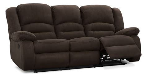 microsuede reclining sofa toreno cocoa padded microsuede reclining sofa the brick