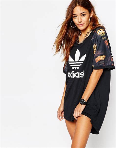 Dress Polos Cut Black Lunna Cewek adidas originals ora cut out t shirt dress with trefoil logo in multi print shopperboard