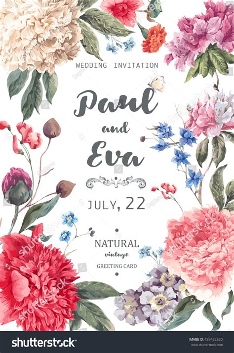vintage flowers wedding invitations vector vintage watercolor floral vector wedding invitation stock