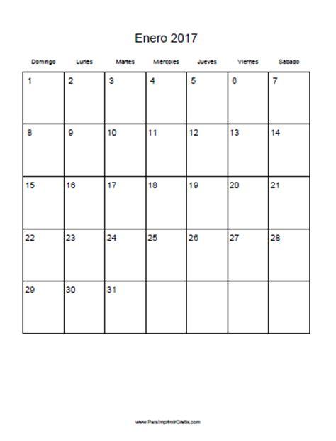 plantilla calendario enero 2017 calendario enero 2017 para imprimir gratis