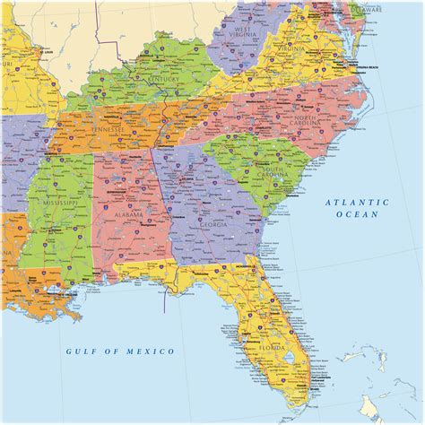 map of southeastern states usa southeast usa wall map maps