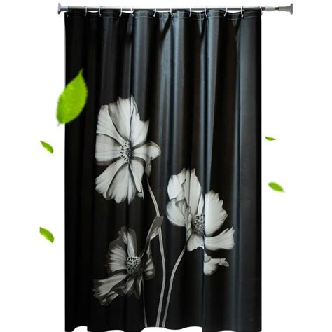 Black Shower Curtain With White Flower by Black Cool Shower Curtains With Beautiful White Flower