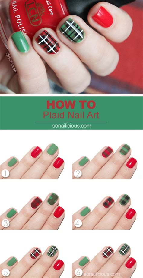 nail art checkered tutorial plaid nail art tutorial