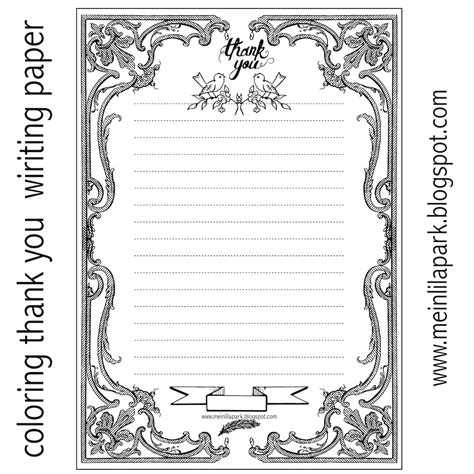 Thank You Note Writing Template Free Printable Thank You Writing Paper Ausruckbares Briefpapier Freebie Meinlilapark