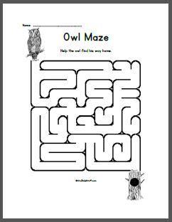 printable owl maze a to z kids stuff preschool and kindergartn owls theme