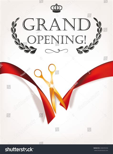 grand opening card template grand opening invitation card gold scissors stock vector