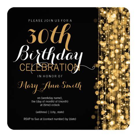 Elegant Gold 30th Birthday Party Sparkles Invitation Zazzle Com Cassy S 30th Birthday 30th Birthday Invitation Templates Free