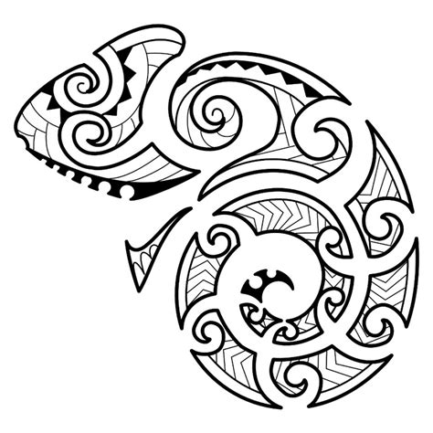 maori style chameleon carol requested this maori styled