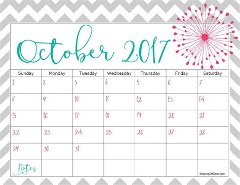 printable calendar october 2017 cute october 2017 calendar cute printable template with