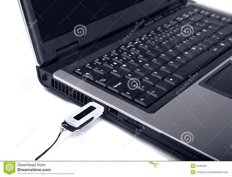 Usb Laptop Up Of Laptop With Usb Flash Memory Royalty Free