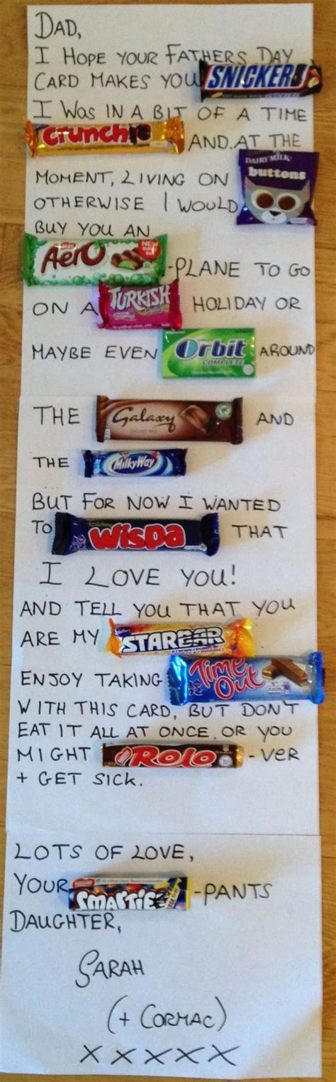 chocolate bar father s day card christmas pinterest