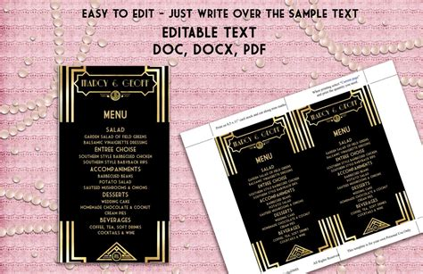 Printable Menu Template Art Deco Great Gatsby Inspired Black And Gold Editable Text Black And Gold Menu Template